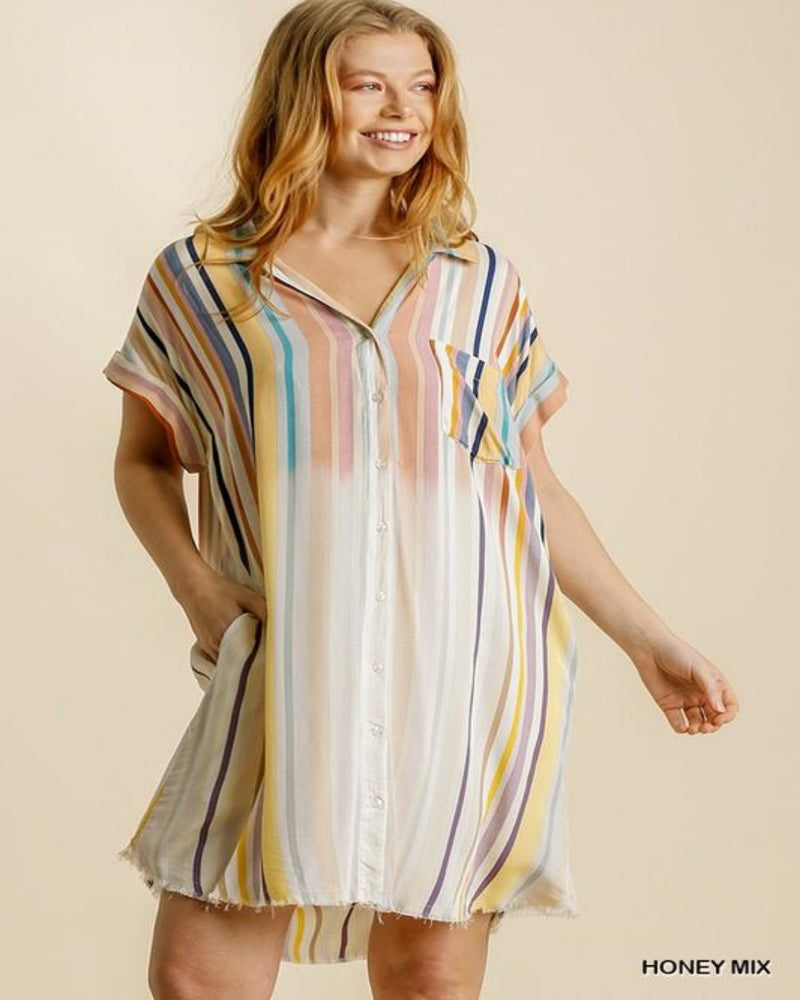 Bleached Striped Shirt Dress-Dresses-Umgee-Small-Honey Mix-Inspired Wings Fashion