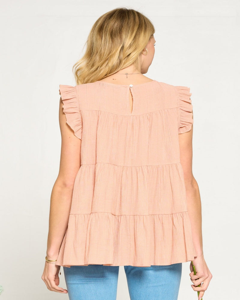 Textured Tiered Flowy Top-Tops-Doe & Rae-Small-Sage-Inspired Wings Fashion