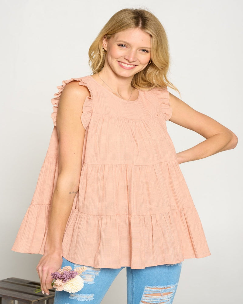 Textured Tiered Flowy Top-Tops-Doe & Rae-Small-Apricot-Inspired Wings Fashion