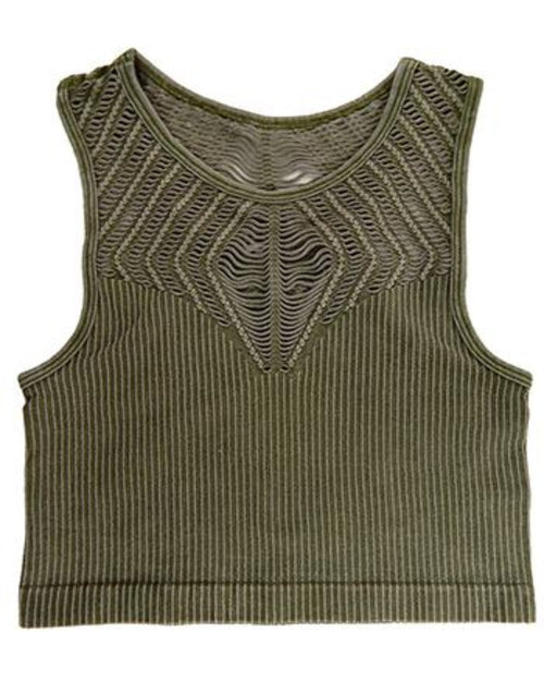 High Neck Crop Top-Top-Yahada-S/M-Olive-Inspired Wings Fashion