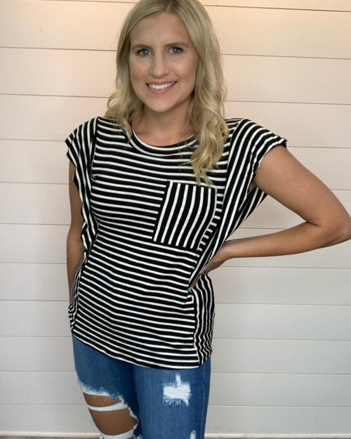 Style Stripe Ruffle Top-Tops-Hailey & Co-Small-Inspired Wings Fashion