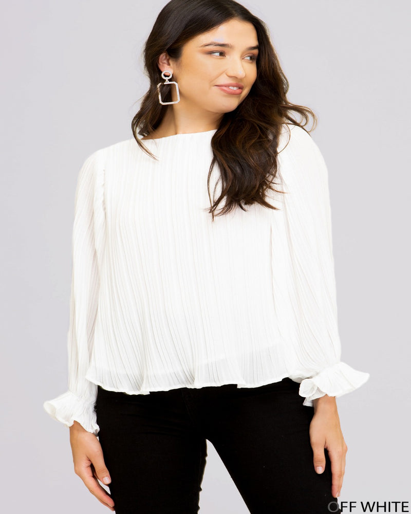 Woven Pleated Ruffle Top-Tops-She+Sky-Small-Off White-Inspired Wings Fashion