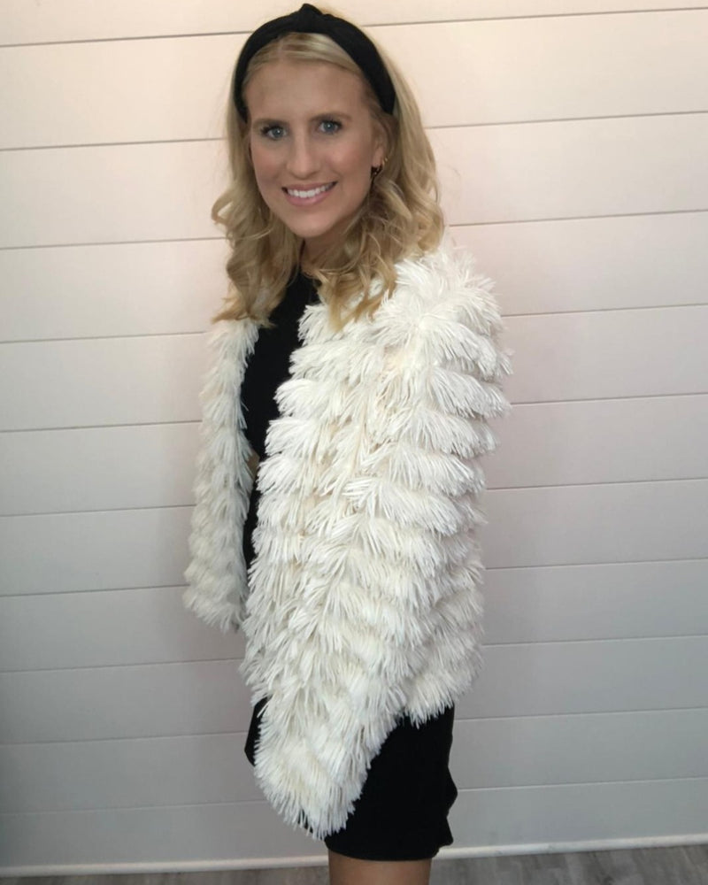 More Glam Fluffy Cardigan-Cardigans-Main Strip-Small-White-Inspired Wings Fashion