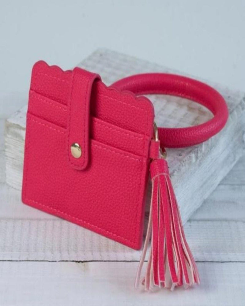 Card Wallet With Key Ring Bangle-Accessories-Lauren Lane-Hot Pink-Inspired Wings Fashion