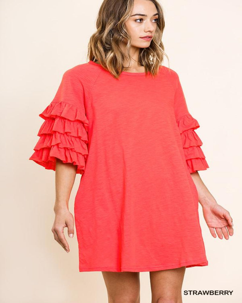 Strawberry Ruffled Dress-Dresses-Inspired Wings Fashion-Small-Inspired Wings Fashion