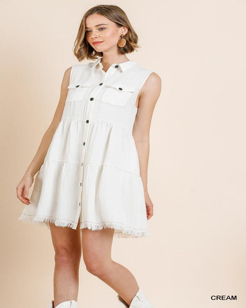 Collared Ruffle Tier Dress-Dresses-Umgee-Small-Cream-Inspired Wings Fashion