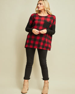 Checkmate Plaid Blouse-Red/Back