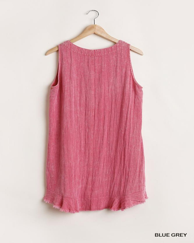 Garment Dye Dress-Dresses-Umgee-Small-Hot Pink-Inspired Wings Fashion
