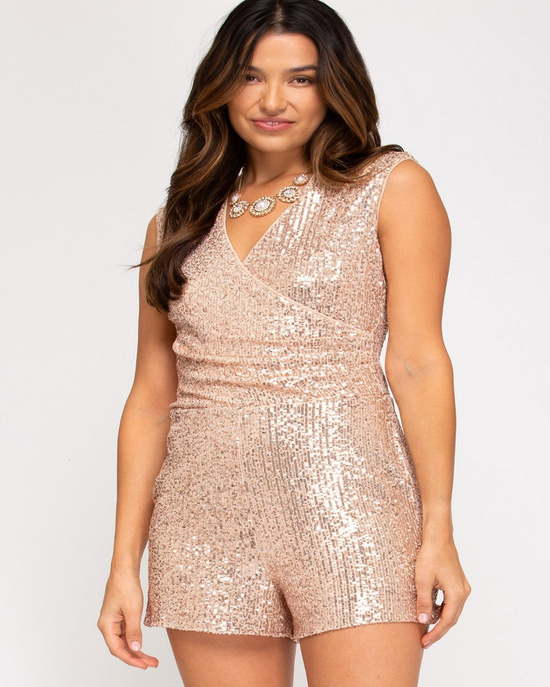 Sleeveless Wrap Sequin Romper-Jumpsuit-She+Sky-Small-Rose-Inspired Wings Fashion