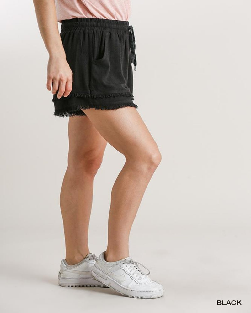 Layered Frayed Hem Shorts-bottoms-Umgee-Small-Inspired Wings Fashion