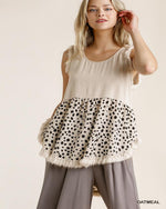 Dalmatian Sleeveless Top-Tops-Umgee-Small-Oatmeal-Inspired Wings Fashion