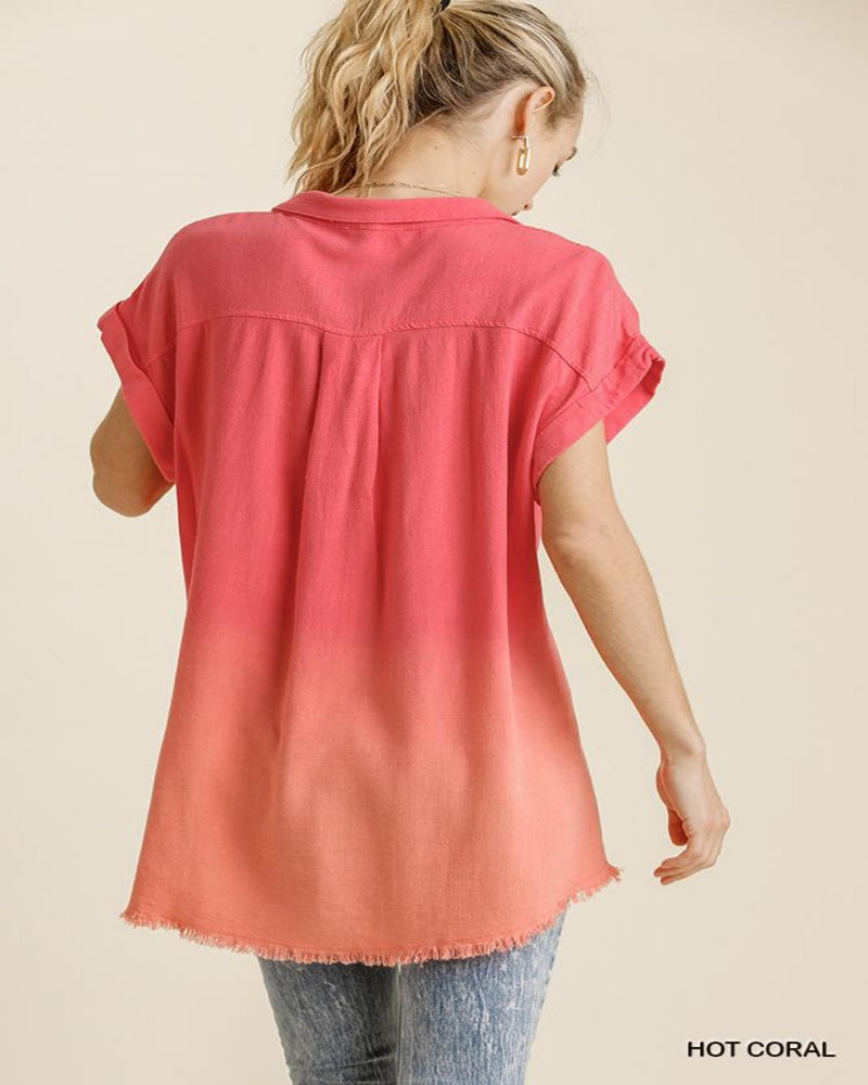 Bleach Dip Dye Top-Tops-Umgee-Small-Inspired Wings Fashion