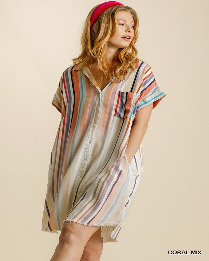 Bleached Striped Shirt Dress-Dresses-Umgee-Small-Inspired Wings Fashion