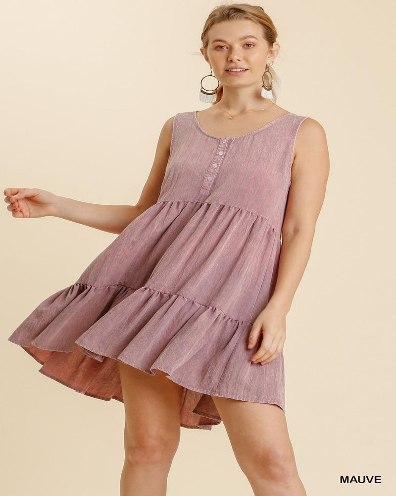 Washed Tiered Dress-Dresses-Umgee-Small-Mauve-Inspired Wings Fashion