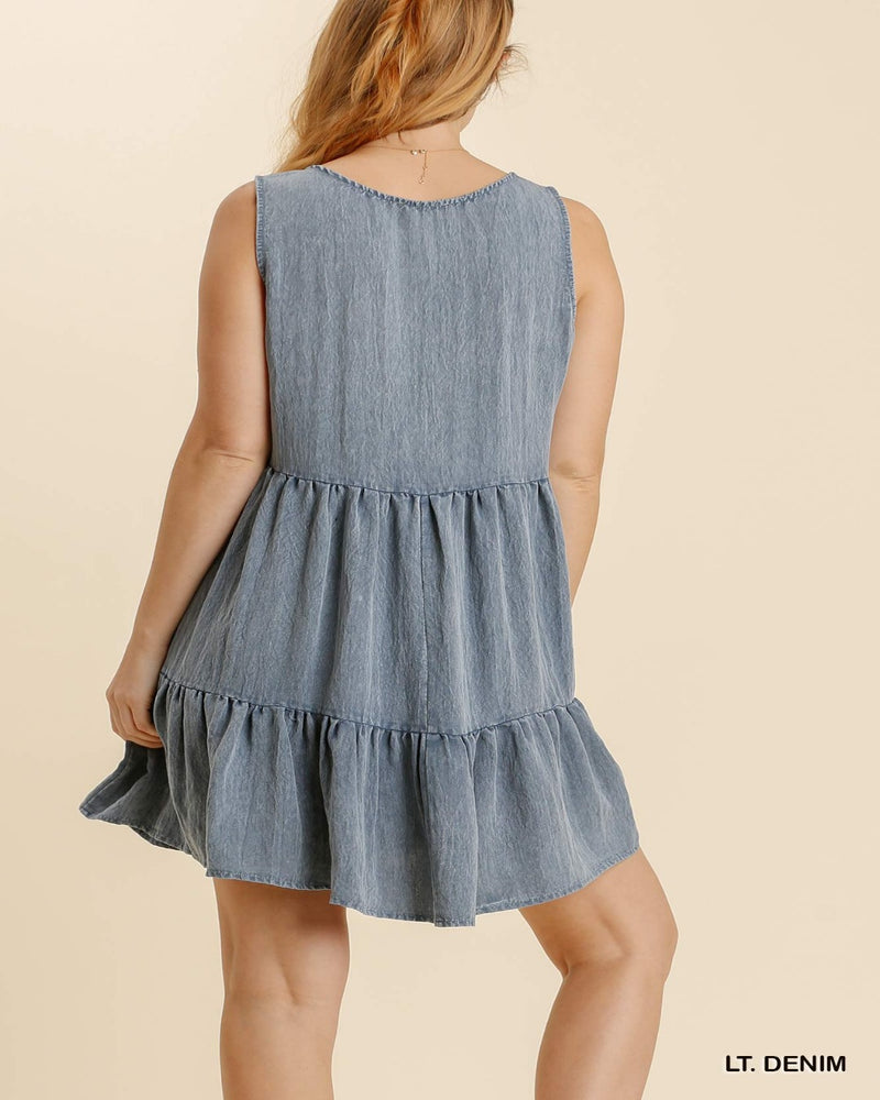 Washed Tiered Dress-Dresses-Umgee-Small-LT. Denim-Inspired Wings Fashion