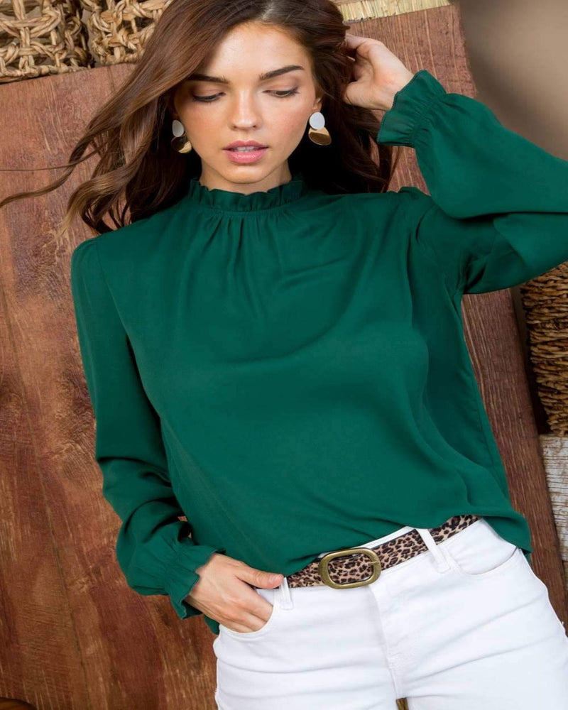 Put On Ruffle Tops-Tops-Main Strip-Small-Green-Inspired Wings Fashion