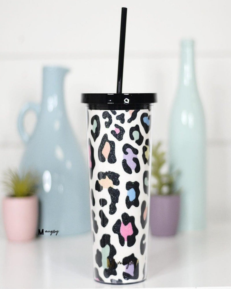 Rainbow Leopard Glitter Tumbler-Accessories-Mugsby Wholesale-Inspired Wings Fashion