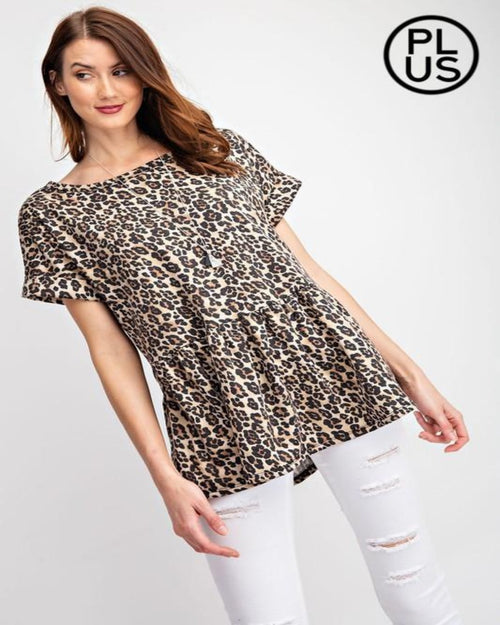 Babydoll Leopard Print Top-curvy-Rae Mode-1XL-Inspired Wings Fashion