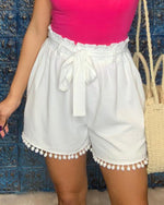 Pom Fringe Paperbag Short-bottoms-Jodifl-Small-Off White-Inspired Wings Fashion