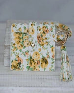 Card Wallet With Key Ring Bangle-Accessories-Lauren Lane-Yellow Floral-Inspired Wings Fashion
