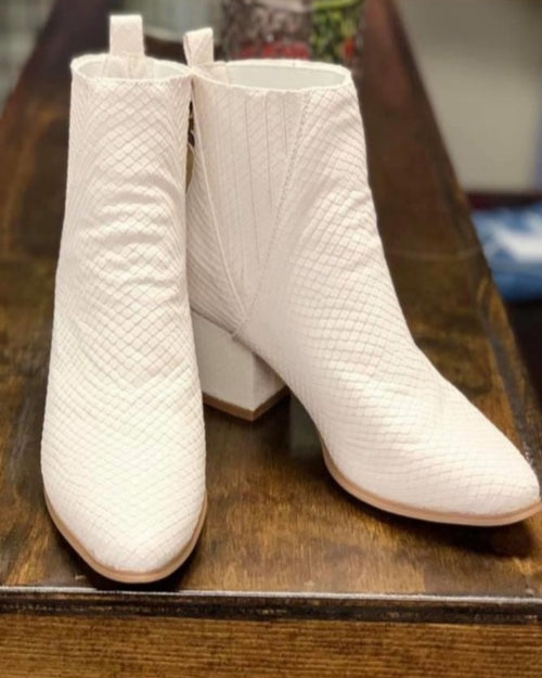 Lovely White Booties-Boots-Very G-Inspired Wings Fashion