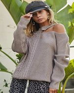 Unique Cut Out Sweater-Sweaters-Main Strip-Small-Taupe-Inspired Wings Fashion