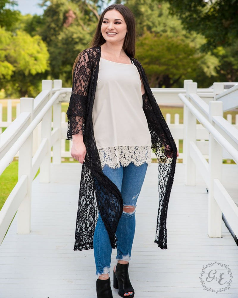 The New & Improved Black Lace Duster-Southern Grace Wholesale-Inspired Wings Fashion