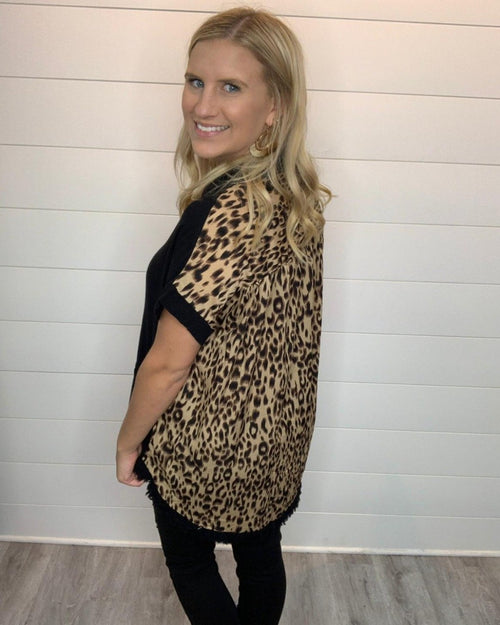 Chill In Leopard Frayed Top-Tops-Umgee-Small-Black-Inspired Wings Fashion
