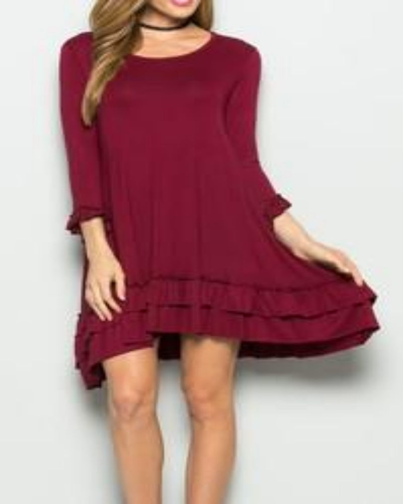 Shes Got Heart Dress Maroon