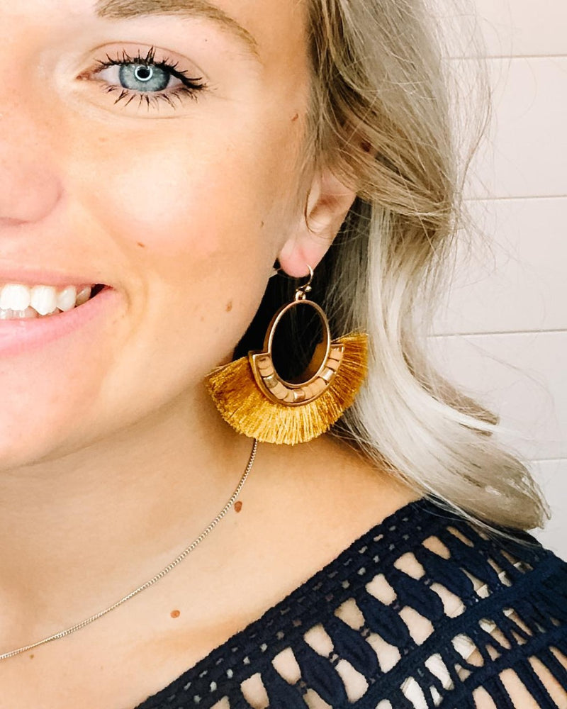 Diva Mustard Fan Tassel Earrings-Inspired Wings Fashion-Inspired Wings Fashion