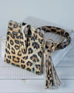 Card Wallet With Key Ring Bangle-Accessories-Lauren Lane-Classic Leopard-Inspired Wings Fashion