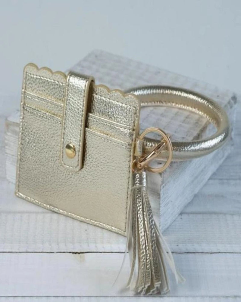 Card Wallet With Key Ring Bangle-Accessories-Lauren Lane-Light Gold-Inspired Wings Fashion