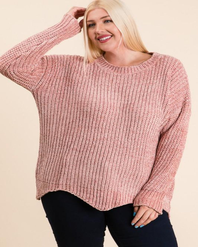 Scallop Chenille Sweater-Plus Size-Inspired Wings Fashion-Small-Inspired Wings Fashion