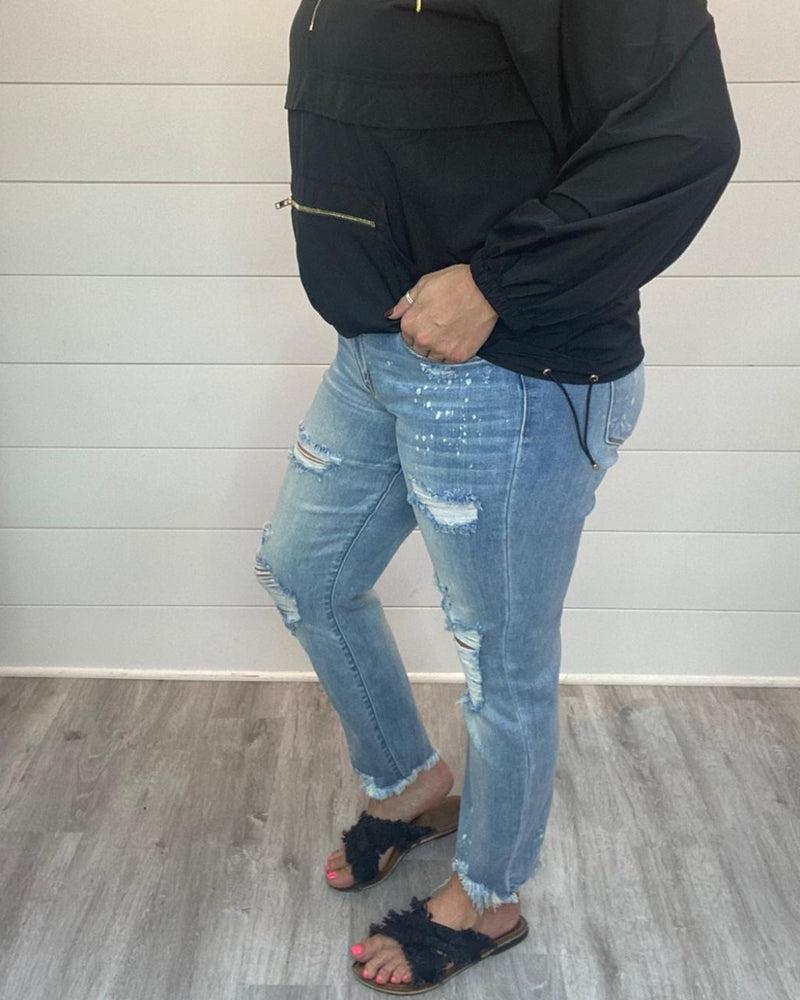 Aura Destroyed Hem Jeans-bottoms-Judy Blue-0-Inspired Wings Fashion