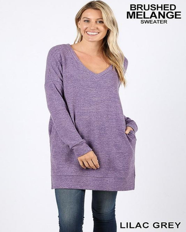 Set Me Free Sweater Dress Lilac Grey