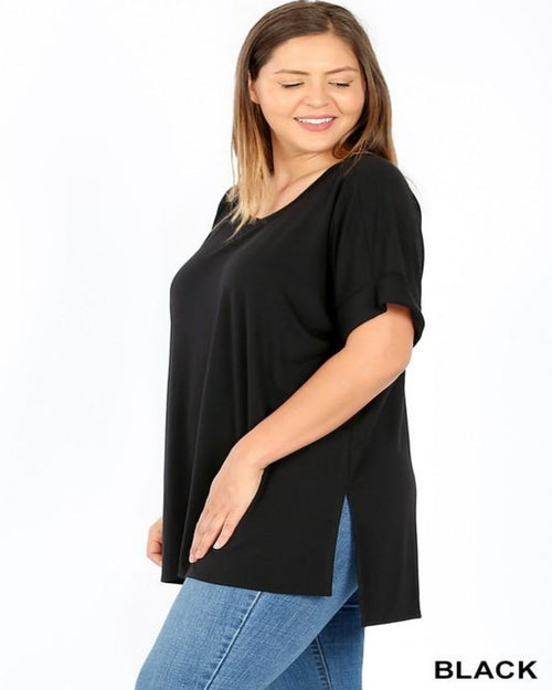 Rolled T-Shirt-Plus Size-Inspired Wings Fashion-1X-Black-Inspired Wings Fashion
