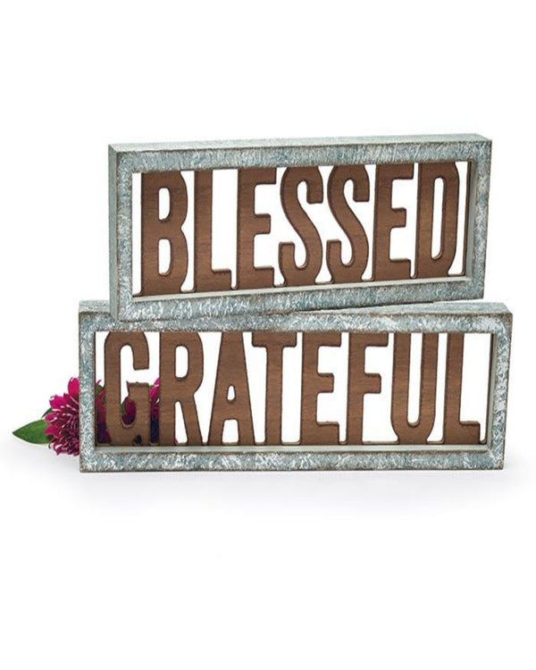 Blessed & Grateful Laser cut shelf sitters