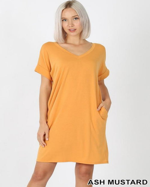 Pretty Bright Mini Dress-Dresses-Zenana-Small-Mustard-Inspired Wings Fashion