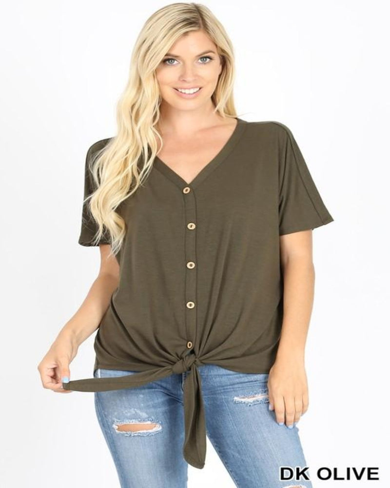 Favorite Button Down Knot Top-Tops-Inspired Wings Fashion-Small-Ash Mocha-Inspired Wings Fashion
