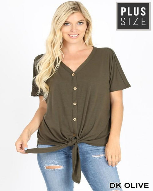 Favorite Button Down Knot Top-Plus Size-Inspired Wings Fashion-1X-Ash Mocha-Inspired Wings Fashion