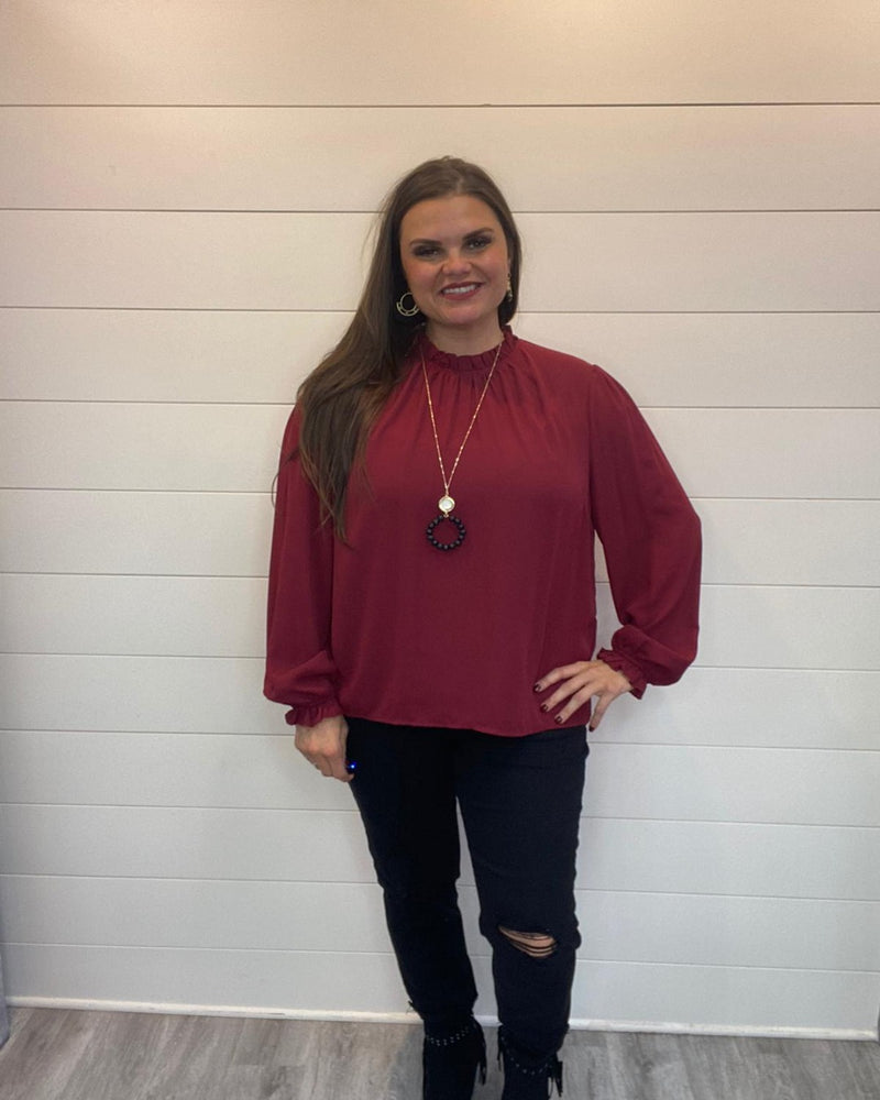 Put On Ruffle Tops-Tops-Main Strip-Small-Burgundy-Inspired Wings Fashion