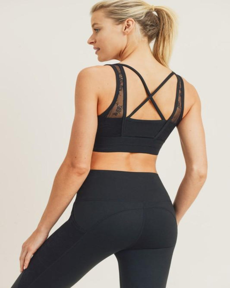 Floral Lace X-Back Sports Bra-Tops-Mono B-S-Black-Inspired Wings Fashion