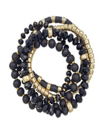 Crystal, Wood, and Gold Beaded Set of 5 Stretch Bracelet-Accessories-What's Hot Jewelry-Black-Inspired Wings Fashion