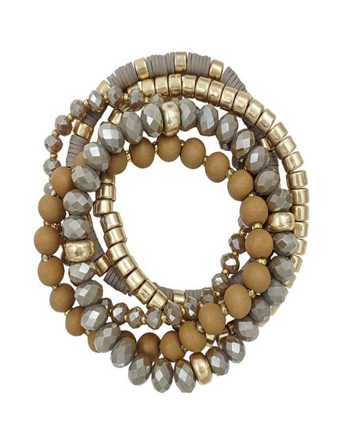 Crystal, Wood, and Gold Beaded Set of 5 Stretch Bracelet-Accessories-What's Hot Jewelry-Mocha-Inspired Wings Fashion