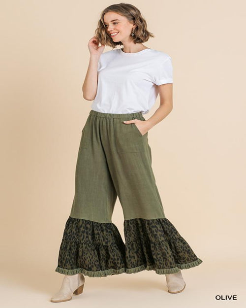 Ruffled Animal Print Pants-bottoms-Inspired Wings Fashion-Small-Inspired Wings Fashion