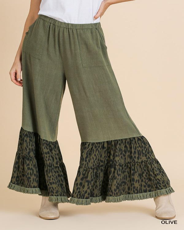 Ruffled Animal Print Pants