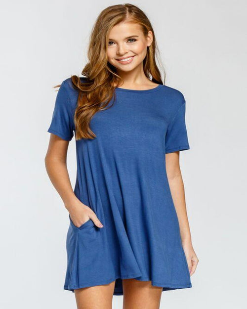 Lovely Shift Dress-Dresses-Inspired Wings Fashion-Small-Slate Blue-Inspired Wings Fashion