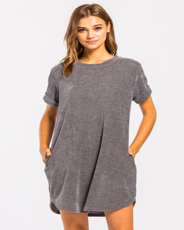 Chenille Pocket Tee Shirt Dress