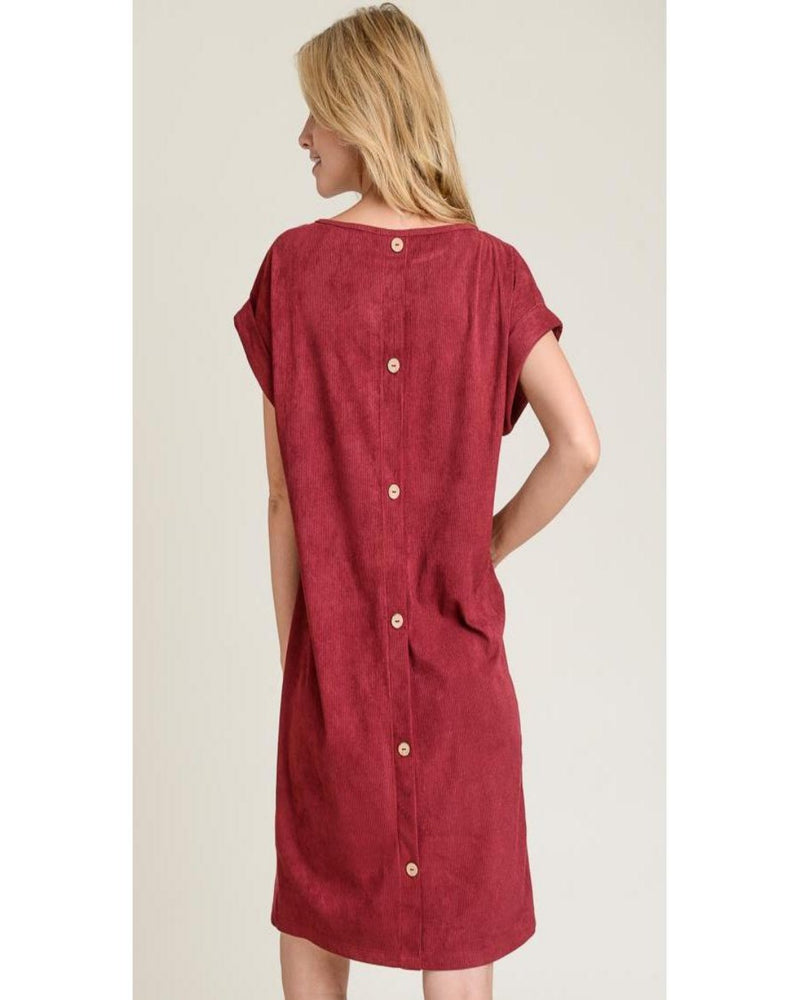 Take The Best Chance Corduroy T-Shirt Dress Burgundy