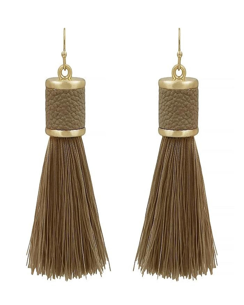Leather Tassel Earring-Accessories-What's Hot Jewelry-Brown-Inspired Wings Fashion